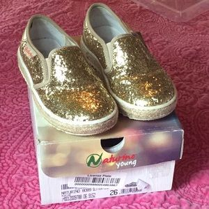 Naturino gold sparkle toddler girl shoes size 26
